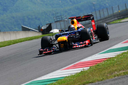 MUGELLO, ITALY 2012: Sebastian Vettel of Red Bull Racing F1 Team during Formula One Teams Test Days at Mugello Circuit on May, 2012 in Italy. 報道画像