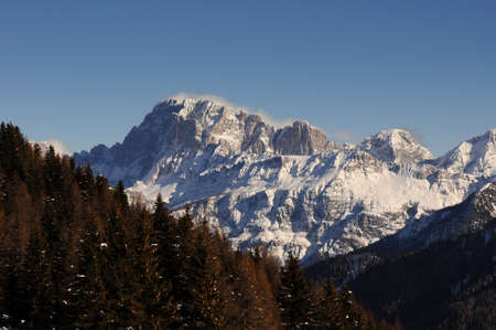 Civetta Group in the Italian Dolomites as seen from Passo Valles. Trentino Alto-Adige, Italy. 免版税图像
