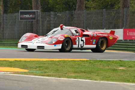 26 October 2018: Unknow drive Ferrari 512 S (Long Tail) Prototype Le Mans during Imola Classic 2018 at Imola Circuit in Italy.