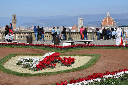Florence, March 23, 2019: the love flowery installation at Piazzale Michelangelo for Valentines Day 2019 with Cathedral of Santa Maria del Fiore on background. italy Editorial