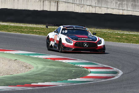 Italy - 29 March, 2019: Mercedes AMG GT3 of Hofor-Racing Switzerland Michael Kroll Team driven by Alexander Prinz/Kenneth Heyer/Christiaan Frankenhout in action during 12h Hankook Race at Mugello Circuit. Editorial