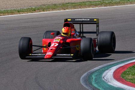 Imola, 27 April 2019: Historic 1991 F1 Ferrari 642 ex Alain Prost - Jean Alesi in action during Minardi Historic Day 2019 at Imola Circuit in Italy. Sajtókép