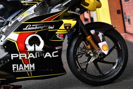 Mugello - Italy, 31 May 2019: Ducati GP19 of Alma Pramac Team of rider Francesco Bagnaia in the pitlane during the Italian GP in 2019 in Italy