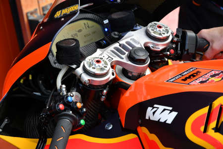 Mugello - Italy, 31 May 2019: Ktm RC16 of Red Bull Factory Team of rider Pol Espargaro in the Pitlane in the Pitlane during the Italian GP in 2019 in Italy Editorial