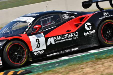 Mugello Circuit, Italy - 19 July, 2019: Ferrari 488 of Easy Race Team driven by Veglia Lorenzo and Case Lorenzo, during practice of C.I. Gran Turismo Sprint in Mugello Circuit.