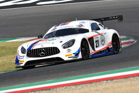 Mugello Circuit, Italy - 19 July, 2019: Mercedes AMG GT3 of Antonelli Motorsport Team driven by Andrea Larini, during practice of C.I. Gran Turismo Sprint in Mugello Circuit.