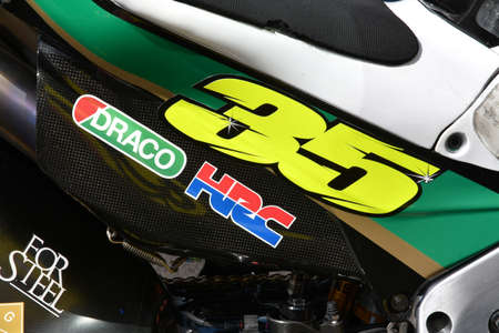 Mugello - Italy, 31 May 2019: Honda RC213v of LCR Honda Castrol Team of rider Cal Crutchlow in the pitlane during the Italian GP in 2019 in Italy