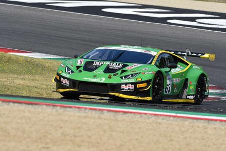Mugello Circuit, Italy - 19 July, 2019: Lamborghini Huracan GT3 Evo of Imperiale Racing Team driven by Postiglione and Vito Mul Jeroen during practice of C.I. Gran Turismo Sprint in Mugello Circuit.