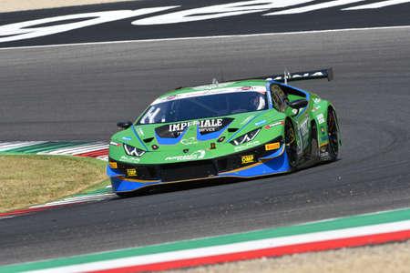 Mugello Circuit, Italy - 19 July, 2019: Lamborghini Huracan GT3 Evo Scuderia Imperiale Racing driven by Perolini Pietro and Gersekowski Ben during practice of C.I. Gran Turismo Sprint in Mugello Circuit.