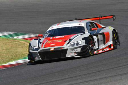 Mugello Circuit, Italy - 19 July 2019: AUDI R8 LMS AUDI SPORT Italia Team driven by Andrea Fontana and Pierre Kaffer, during practice of C.I. Gran Turismo Sprint at Mugello Circuit.