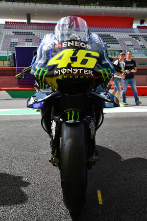 Mugello , Italy - 31 May 2019: Mugello, Italy - May 31, 2019: Yamaha M1 of Monster Energy Team of rider Valentino Rossi in the Pitlane during the Italian GP in 2019 in Italy
