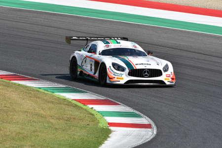Mugello Circuit, Italy - 19 July, 2019: Mercedes AMG GT3 of Antonelli Motorsport Team driven by Nicola Baldan, during practice of C.I. Gran Turismo Sprint in Mugello Circuit.