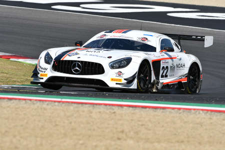 Mugello Circuit, Italy - 19 July, 2019: Mercedes AMG GT3 of Antonelli Motorsport Team driven by Riccardo Agostini and Rovera Alessio, during practice of C.I. Gran Turismo Sprint in Mugello Circuit.