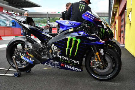 Mugello, Italy - May 31, 2019: Yamaha M1 of Monster Energy Team of rider Maverick Vinales in the Pitlane during the Italian GP in 2019 in Italy