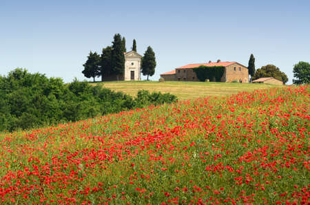 Pienza, Tuscany - June, 2019: Chapel of Vitaleta or Vitaleta Chapel near Pienza in Tuscany. Beautiful field of red poppies and the famous Chapel on background. Siena, Italy. Redactioneel