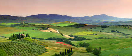 Pienza, Tuscany - June 2019: beautiful landscape of Tuscany in Italy, Podere Belvedere in Val d Orcia near Pienza with cypress, olive trees and green rolling hills. Siena, Italy. Editorial