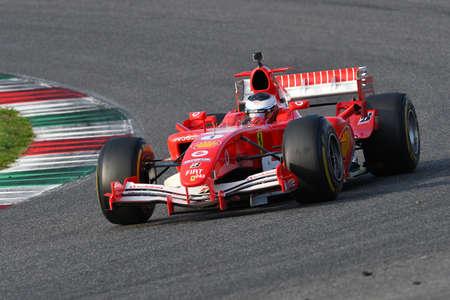 Mugello Circuit, 24 October 2019: Ferrari F1 model F2005 year 2005 ex Michael Schumacher - Rubens Barrichello in action during Finali Mondiali Ferrari 2019 at Mugello Circuit in Italy.