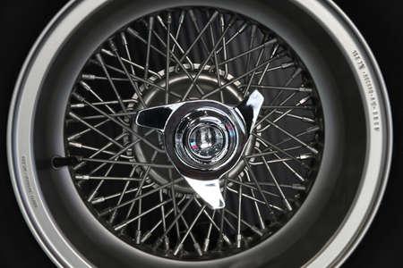 Mugello Circuit, 24 October 2019: detail of an old spoked wheel. macro shot. Italy. Redakční