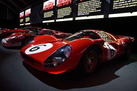 Mugello Circuit, 25 October 2019: Historic Prototype Ferrari 330 P4 year 1967 on display during Finali Mondiali Ferrari 2019 at Mugello Circuit in Italy.