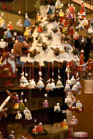 Christmas decorations at Christmas market in Piazza Santa Croce in the center of Florence City. italy