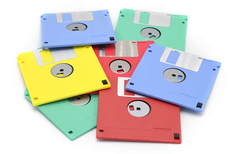 colored floppy diskettes isolated on white