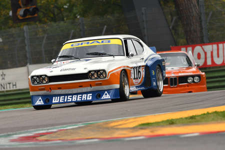 Imola (BOLOGNA) - 26 Oct 2018: Ford Capri 3100 RS 1975 driven by Stephen Danceford during practice session on Imola Circuit, Italy.