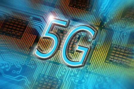 5G word on technology abstract background with cpu processors. concept of 5G network communication on modern circuits, high speed mobile internet and next generation network technology.