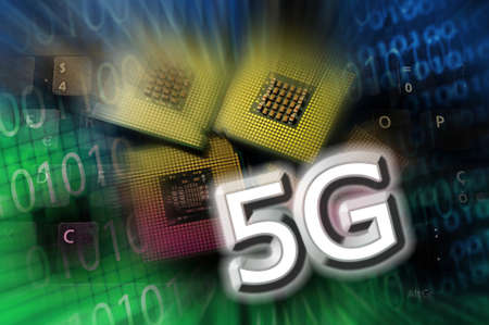 5G word on technology abstract background with cpu and binary code. concept of 5G network communication on modern circuits, high speed mobile internet and next generation network technology.