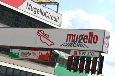 Scarperia, Mugello - 28 August 2020: logos of the Mugello International Circuit at Scarperia (Florence) on the occasion of the Ferrari Racing Days 2020. Editorial