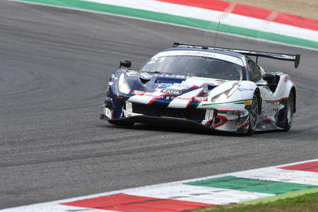 Mugello Circuit, Italy - October 2, 2020: Ferrari 488 GT3 of Team AF Corse driven by Mann Simon - Cressoni Matteo in action during Qualifyng session of Italian Championship GT in Mugello Circuit.