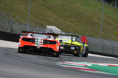 Mugello Circuit, Italy - October 2, 2020: Ferrari 488 GT3 of Team RS Racing driven by Di Amato Daniele - Vezzoni Alessandro in action during Qualifyng session of Italian Championship GT in Mugello Circuit. Editorial