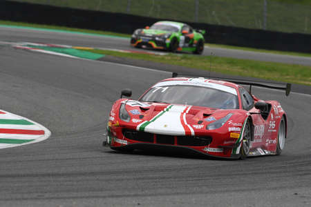 Mugello Circuit, Italy - October 2, 2020: Ferrari 488 GT3 of Team AF Corse driven by Roda Giorgio - Rovera Alessio in action during Qualifyng session of Italian Championship GT in Mugello Circuit. Editorial
