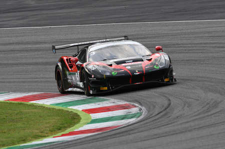 Mugello Circuit, Italy - October 2, 2020: Ferrari 488 GT3 of Team Easy Race driven by Michelotto Mattia - Hudspeth Sean in action during Qualifyng session of Italian Championship GT.
