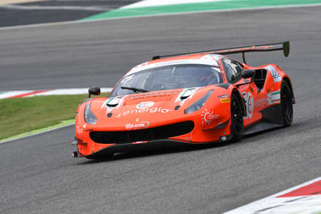 Mugello Circuit, Italy - October 2, 2020: Ferrari 488 GT3 of Team RS Racing driven by Di Amato Daniele - Vezzoni Alessandro in action during Qualifyng session of Italian Championship GT in Mugello Circuit. Banco de Imagens - 156570605