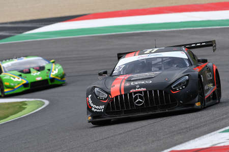 Mugello Circuit, Italy - October 2, 2020: Mercedes AMG GT3 of Team AKM Motorsport driven by Ferrari Lorenzo - Spinelli Loris in action during Qualifyng session of Italian Championship GT in Mugello Circuit.