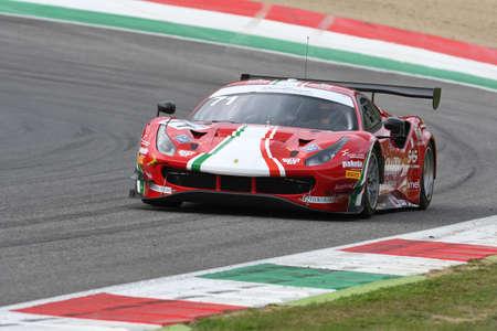 Mugello Circuit, Italy - October 2, 2020: Ferrari 488 GT3 of Team AF Corse driven by Roda Giorgio - Rovera Alessio in action during Qualifyng session of Italian Championship GT in Mugello Circuit. Banco de Imagens - 156569693