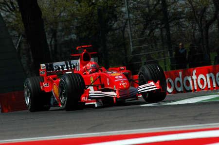 Imola, Italy - 23 April 2005: F1 World Championship. San Marino Grand Prix, Michael Schumacher in action on Ferrari F2005 during practice. Redakční