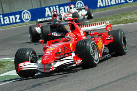 Imola, Italy - 23 April 2006: F1 World Championship. San Marino Grand Prix, Michael Schumacher in action on Ferrari 248 F1 during practice.