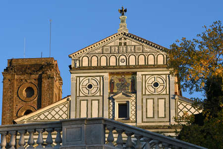 The facade of the Basilica of San Miniato al Monte (St. Minias on the Mountain) in Florence. It is one of the finest Romanesque structures in Tuscany with beautiful view on the city. Italy.
