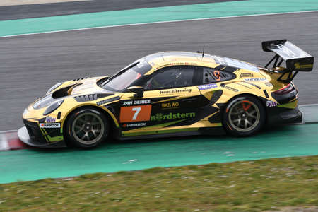 Scarperia, 25 March 2021: Porsche 911 GT3 R of DINAMIC MOTORSPORT Team driven by Pampanini-Calamia-Jacoma in action during 12h Hankook Race at Mugello Circuit in Italy.