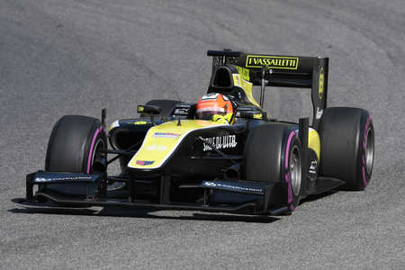 Scarperia, 9 April 2021: GP2 Formula driven by unknown in action at Mugello Circuit during BOSS GP Championship practice. Italy Stock fotó - 167599455