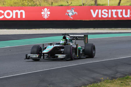 Scarperia, 9 April 2021: GP2 Formula driven by unknown in action at Mugello Circuit during BOSS GP Championship practice. Italy Stock fotó - 167548520