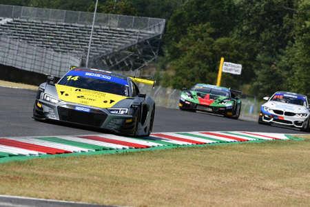 Scarperia, IT July 2, 2021: Audi R8 GT3 of Team Audi Sport Italia drive by Salaquarda - Karol - Postiglione in action during Qualifyng session of Italian Championship GT in Mugello Circuit.