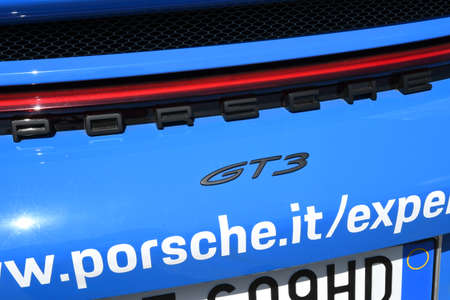 Mugello Circuit, IT, July 2021: Detail of Porsche 911 GT3 in the paddock of the Mugello Circuit, Italy.