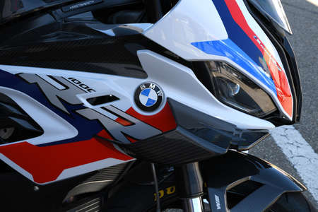 Mugello Circuit, IT, July 2021: Detail of BMW M 1000 RR on display in the Paddock of Mugello Circuit, Italy.
