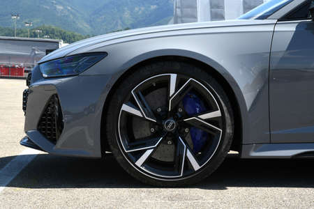 Mugello Circuit, July 2021: Detail of the alloy wheels on a Sports Audi Car in the paddock of the Mugello Circuit, Italy.