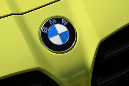 Mugello Circuit, IT, July 2021: Detail of Logo on BMW M4 Competition Coupé Safety Car in the Paddock of Mugello Circuit, Italy.