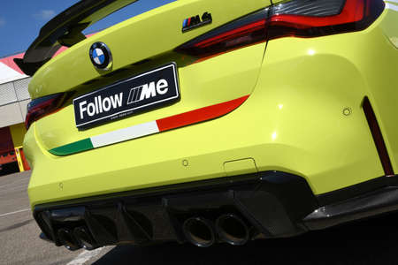 Mugello Circuit, IT, July 2021: Detail of BMW M4 Competition Coupé Safety Car in the Paddock of Mugello Circuit, Italy. Sajtókép