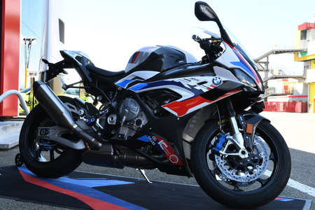 Mugello Circuit, IT, July 2021: BMW M 1000 RR on display in the Paddock of Mugello Circuit, Italy.