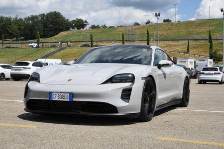 Mugello Circuit, July 2021: Porsche Taycan Turbo S in the paddock of the Mugello Circuit, Italy.